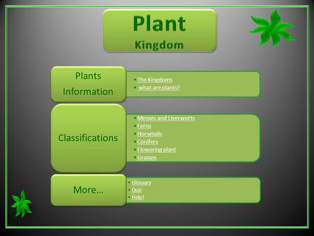 The Kingdoms what are plants? Plants Information Mosses and Liverworts Ferns Horsetails Conifers Flowering plant Grasses Classifications Glossary Quiz.