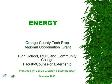 ENERGY Orange County Tech Prep Regional Coordination Grant High School, ROP, and Community College Faculty/Counselor Externship Presented by: Janice L.