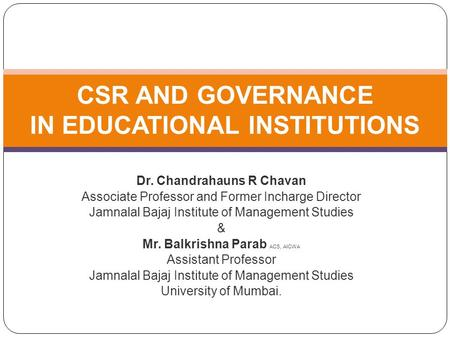 CSR AND GOVERNANCE IN EDUCATIONAL INSTITUTIONS