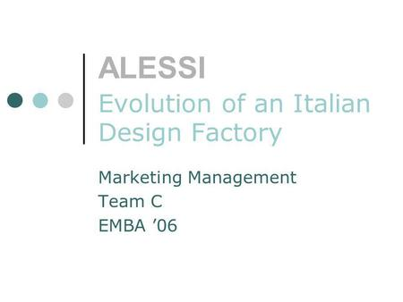 ALESSI Evolution of an Italian Design Factory