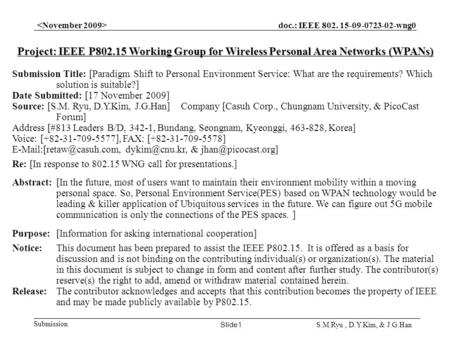 Doc.: IEEE 802. 15-09-0723-02-wng0 Submission Slide1 S.M.Ryu, D.Y.Kim, & J.G.Han Project: IEEE P802.15 Working Group for Wireless Personal Area Networks.
