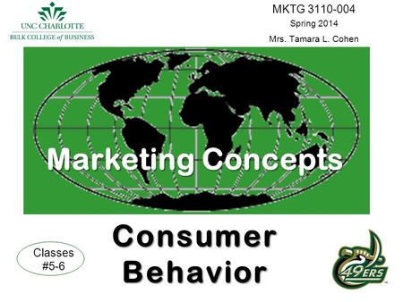 MarketingConcepts Consumer Behavior Marketing Concepts Consumer Behavior MKTG 3110-004 Spring 2014 Mrs. Tamara L. Cohen Classes #5-6.