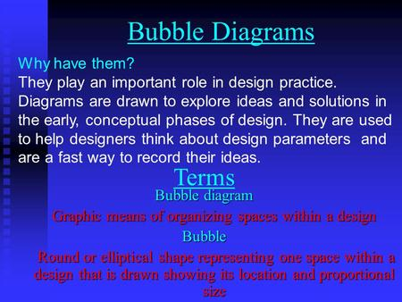 Bubble Diagrams Why have them? They play an important role in design practice. Diagrams are drawn to explore ideas and solutions in the early, conceptual.