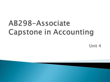 Unit 4. The purpose of Unit 4 is to apply basic financial and accounting data to the control of business activities.