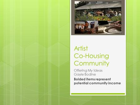 Artist Co-Housing Community Offering My Ideas Gayle Bodine Bolded items represent potential community income.