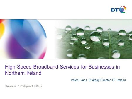 High Speed Broadband Services for Businesses in Northern Ireland Peter Evans, Strategy Director, BT Ireland Brussels – 19 th September 2012.
