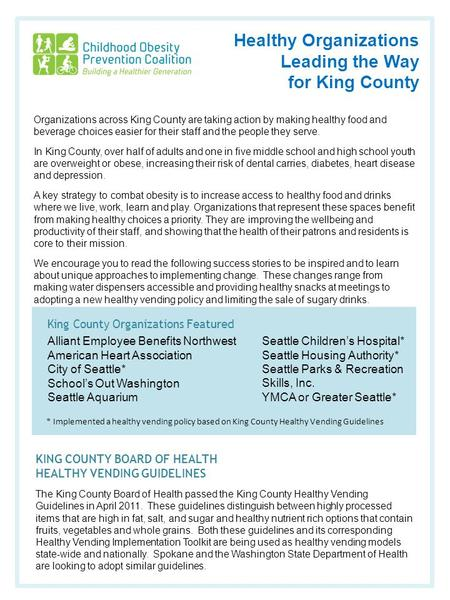 Healthy Organizations Leading the Way for King County King County Organizations Featured Alliant Employee Benefits Northwest American Heart Association.