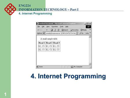 1 ENG224 INFORMATION TECHNOLOGY – Part I 4. Internet Programming.