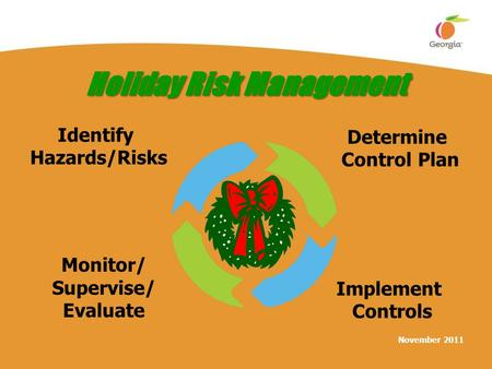 November 2011 Holiday Risk Management Identify Hazards/Risks Determine Control Plan Implement Controls Monitor/ Supervise/ Evaluate.