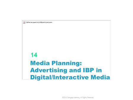 Media Planning: Advertising and IBP in Digital/Interactive Media 14 ©2012 Cengage Learning. All Rights Reserved.