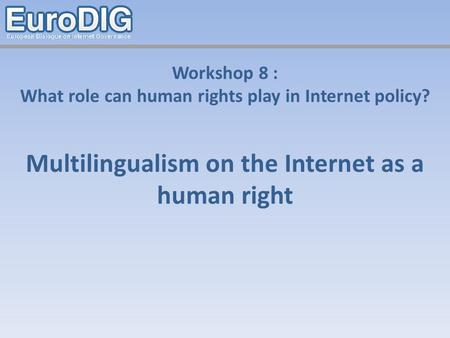 Workshop 8 : What role can human rights play in Internet policy? Multilingualism on the Internet as a human right.