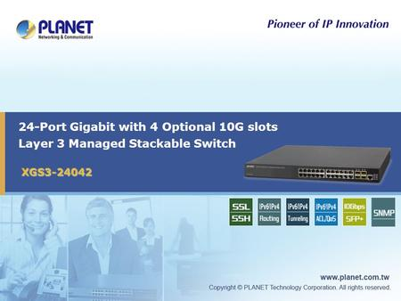 24-Port Gigabit with 4 Optional 10G slots Layer 3 Managed Stackable Switch XGS3-24042 1.