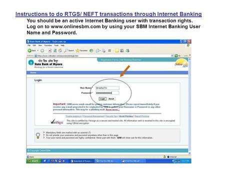 Instructions to do RTGS/ NEFT transactions through Internet Banking