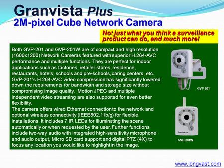 Not just what you think a surveillance product can do, and much more! Granvista Plus 2M-pixel Cube Network Camera www.longvast.com Both GVP-201 and GVP-201W.