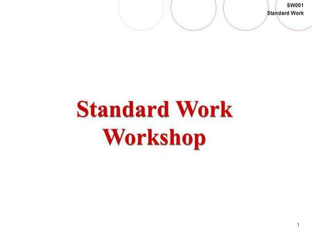 1 SW001 Standard Work Standard Work Workshop. 2 SW001 Standard Work Agenda Time Topic/Activity Day 1 8:00 AMOpening 8:05 AMIntroduction 8:15 AMModule.