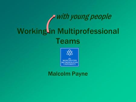 Working in Multiprofessional Teams Malcolm Payne with young people.
