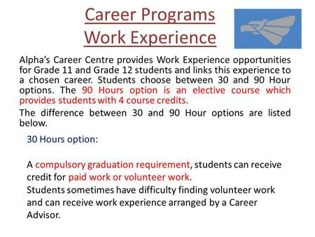 Career Programs Work Experience Alphas Career Centre provides Work Experience opportunities for Grade 11 and Grade 12 students and links this experience.