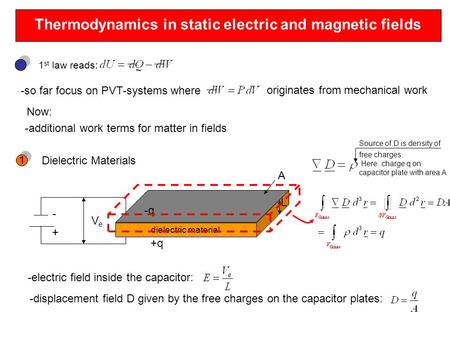 Thermodynamics in static electric and magnetic fields 1 st law reads: -so far focus on PVT-systems where originates from mechanical work Now: -additional.