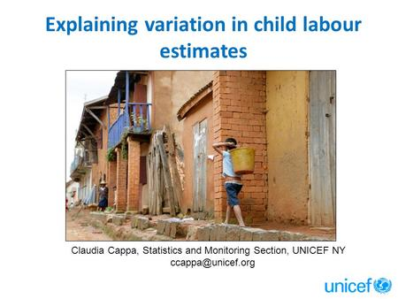 Explaining variation in child labour estimates Claudia Cappa, Statistics and Monitoring Section, UNICEF NY