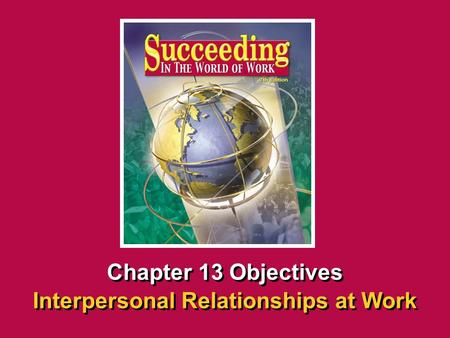Chapter 13 Interpersonal Relationships at Work SECTION OPENER / CLOSER INSERT BOOK COVER ART Chapter 13 Objectives Interpersonal Relationships at Work.