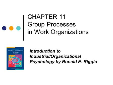 CHAPTER 11 Group Processes in Work Organizations Introduction to Industrial/Organizational Psychology by Ronald E. Riggio.