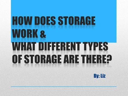 By: Liz. Computer data storage, often called storage or memory, is a technology consisting of computer components and recording media used to preserve.