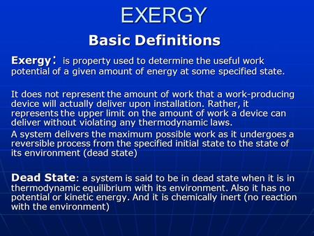 EXERGY Basic Definitions