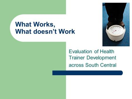 What Works, What doesnt Work Evaluation of Health Trainer Development across South Central.