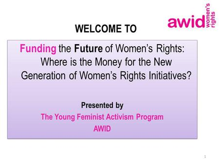 WELCOME TO Funding the Future of Womens Rights: Where is the Money for the New Generation of Womens Rights Initiatives? Presented by The Young Feminist.