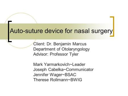 Auto-suture device for nasal surgery