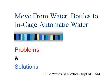 Move From Water Bottles to In-Cage Automatic Water Problems & Solutions Julie Watson MA VetMB Dipl ACLAM.