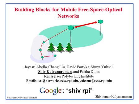 Shivkumar Kalyanaraman Rensselaer Polytechnic Institute 1 Building Blocks for Mobile Free-Space-Optical Networks Jayasri Akella, Chang Liu, David Partyka,