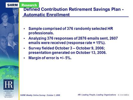 HR: Leading People, Leading Organizations © 2006 SHRM SHRM Weekly Online Survey: October 3, 2006 Defined Contribution Retirement Savings Plan - Automatic.
