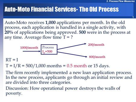 1 3. Process Flow Measures Auto-Moto Financial Services- The Old Process Auto-Moto receives 1,000 applications per month. In the old process, each application.
