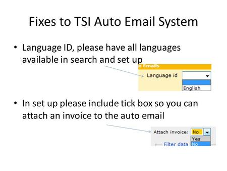 Fixes to TSI Auto Email System Language ID, please have all languages available in search and set up In set up please include tick box so you can attach.