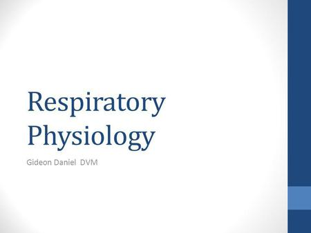 Respiratory Physiology Gideon Daniel DVM. What are the LFT test you should know? Compliance Resistance.
