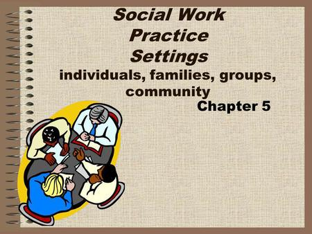 Social Work Practice Settings individuals, families, groups, community Chapter 5.