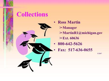 Collections Ross Martin âManager âExt. 60636 800-642-5626 Fax: 517-636-0655 5/2007.