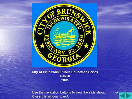 City of Brunswick Public Education Series GaNOI 2005 Use the navigation buttons to view the slide show. Close this window to exit.
