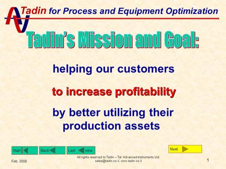 Tadin for Process and Equipment Optimization Back Start Feb. 2008 Last view All rights reserved to Tadin – Tal Advanced Instruments Ltd.