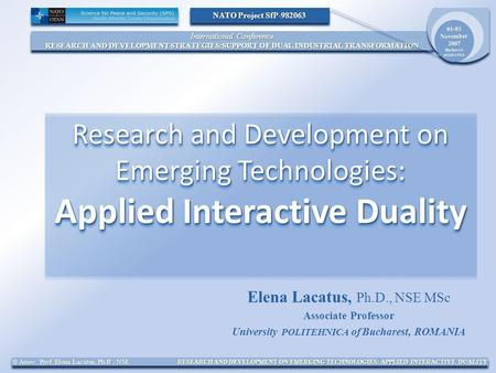 International Conference RESEARCH AND DEVELOPMENT STRATEGIES:SUPPORT OF DUAL INDUSTRIAL TRANSFORMATION International Conference RESEARCH AND DEVELOPMENT.