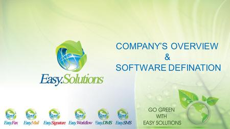 COMPANY'S OVERVIEW & SOFTWARE DEFINATION.