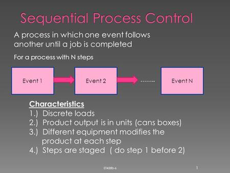A process in which one event follows another until a job is completed Event 1Event 2Event N For a process with N steps …….. Characteristics 1.) Discrete.