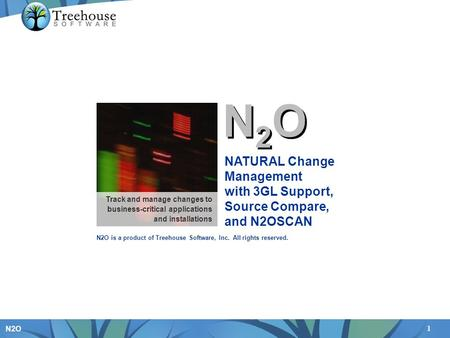 1 N2O N2ON2O N2ON2O NATURAL Change Management with 3GL Support, Source Compare, and N2OSCAN Track and manage changes to business-critical applications.