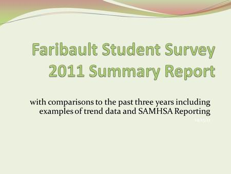 With comparisons to the past three years including examples of trend data and SAMHSA Reporting 12/15/11.