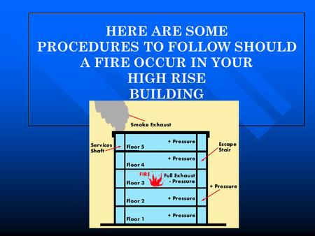 HERE ARE SOME PROCEDURES TO FOLLOW SHOULD A FIRE OCCUR IN YOUR HIGH RISE BUILDING.
