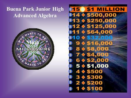 Buena Park Junior High Advanced Algebra Math.
