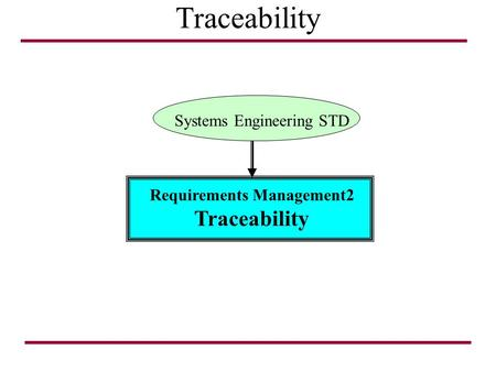 Traceability Requirements Management2 Traceability Systems Engineering STD.