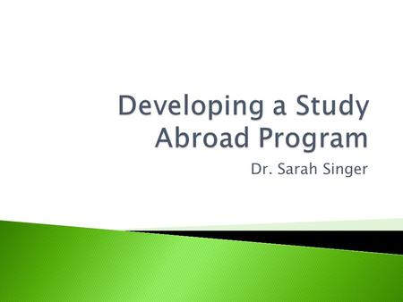 Dr. Sarah Singer. Assistant Director of International Business Center since January 2007 PhD in Higher Education Administration Dissertation: The Impact.