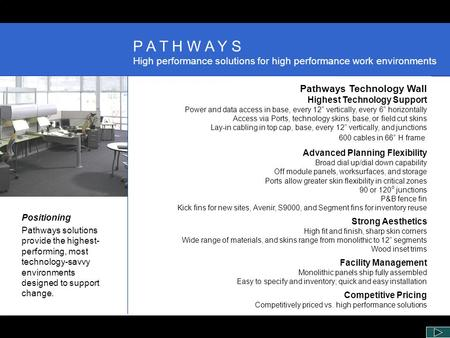 Positioning Pathways solutions provide the highest- performing, most technology-savvy environments designed to support change. Pathways Technology Wall.